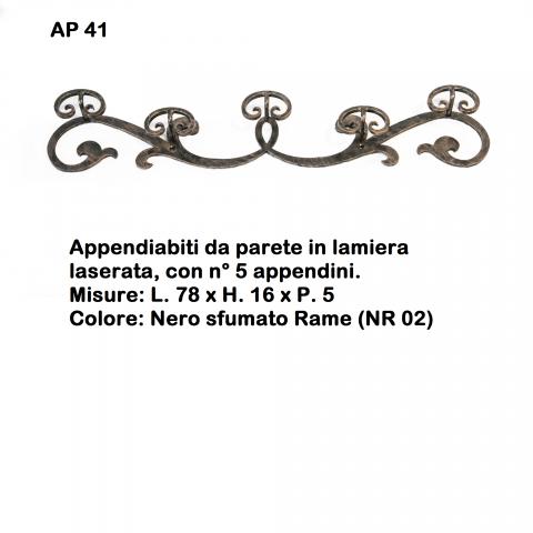 Appendiabiti da parete in ferro battuto AP 41