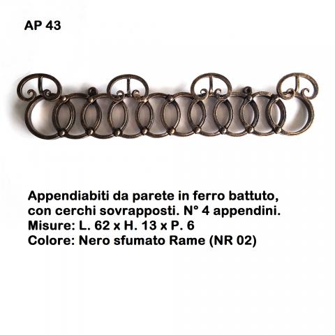 Appendiabiti da parete in ferro battuto AP 43