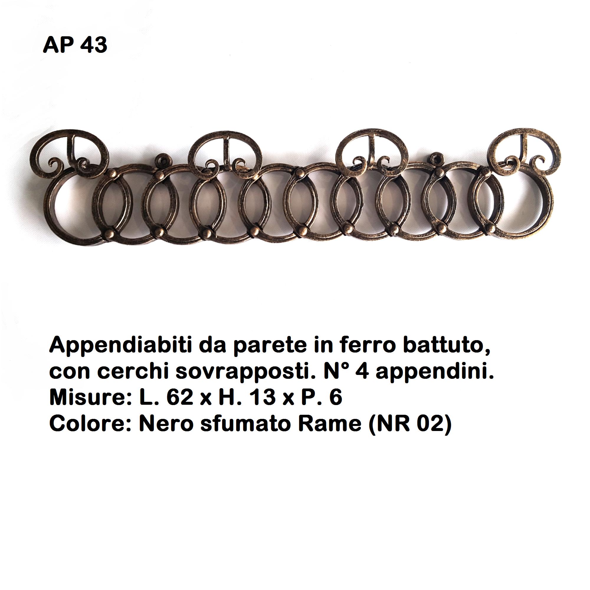 Appendiabiti In Ferro Da Parete.Appendiabiti Da Parete In Ferro Battuto Ap 43 Iron Art